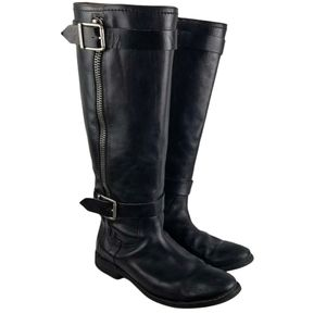 Marc Fisher Leather Side-Zip Buckled Knee-high Boots Size 9M